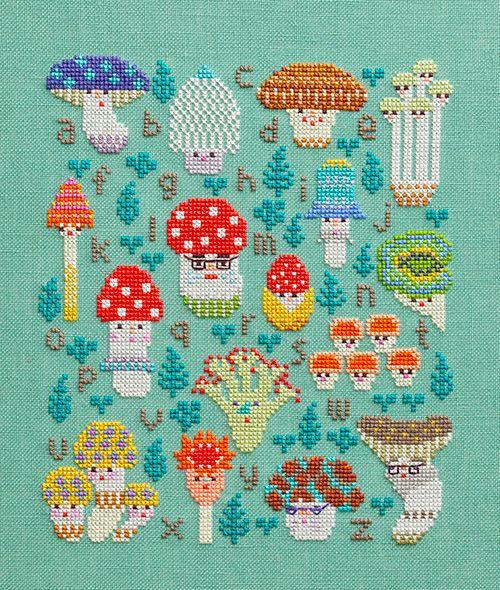 Mushroom family sampler cross stitch