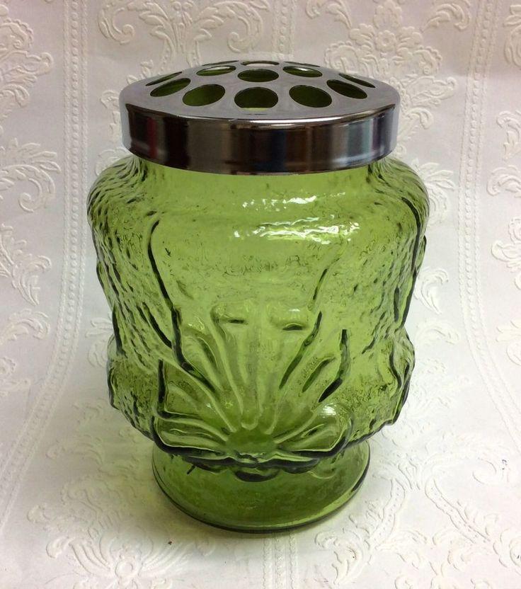 Vintage Green Glass Cut Flower Vase W 19 Hole Flower Frog