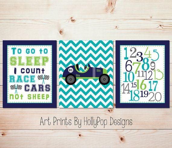 Baby baby nursery wall art Race car nursery by HollyPopDesigns