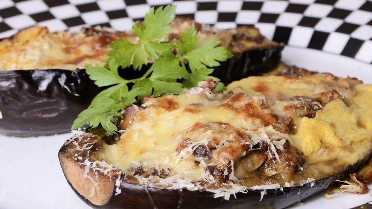 Receta   Berenjenas rellenas de champis y queso - canalcocina.es