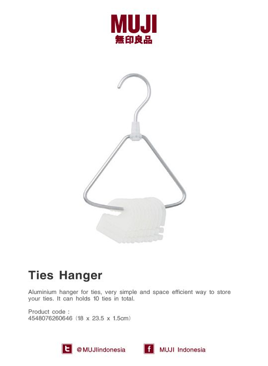 Aluminium hanger for ties, very simple and space efficient way to store your ties. It can holds 10 ties in total.