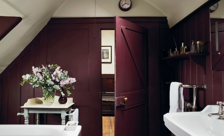 """Plum colored bathroom (paint color possibly """"Brinjal"""") – photo from Farrow and Ball Decorating with Colour by Ros Byam Shaw"""