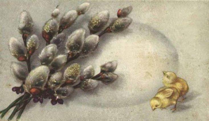 Годик, вербное воскресенье поздравление открытки ретро