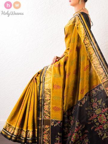 #Brown #Handwoven #Katan #Silk #Patola #Saree #HolyWeaves