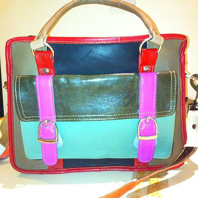 A review on the blog of this colourful upcycled leather bag from the @whatdaisydid Carnival Collection