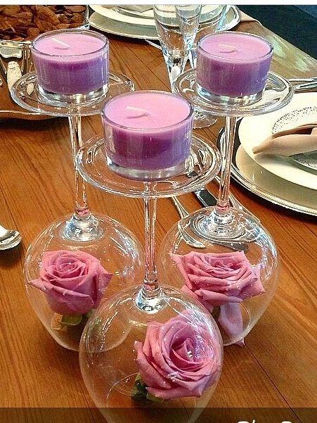 Ta as invertidas rosas e velas decora o noivado - Copas decoradas con velas ...