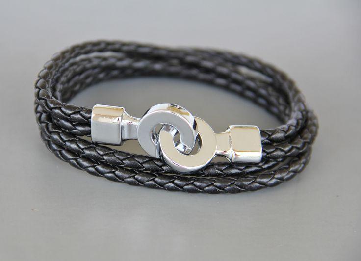 bracelet homme cuir tressé avec fermeture acier stylisé : Bijoux pour hommes par made-with-love-in-aiacciu