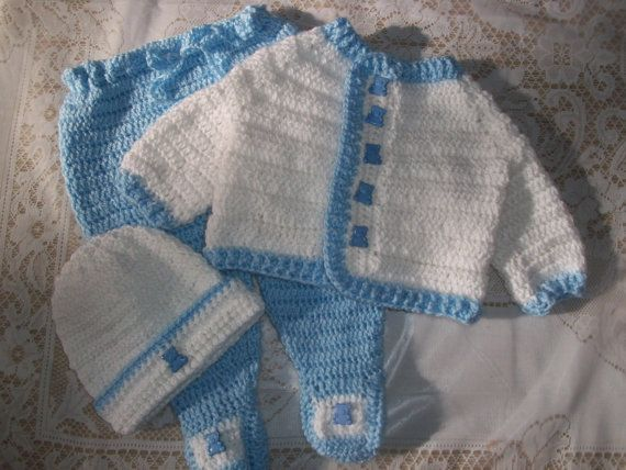 Baby Boy Layette Crochet Free | Crochet Baby Boy Sweater Set Layette With Leggings Perfect For Baby ...