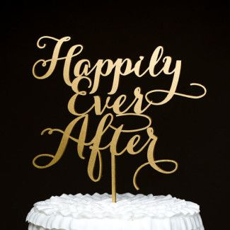 Gold wedding word cake topper - Happily Ever After