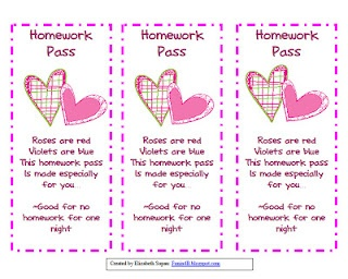 valentine homework coupons