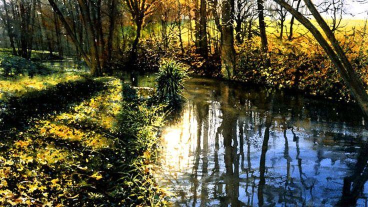 Original watercolour painting River Scene by Joe Francis Dowden (watercolor)