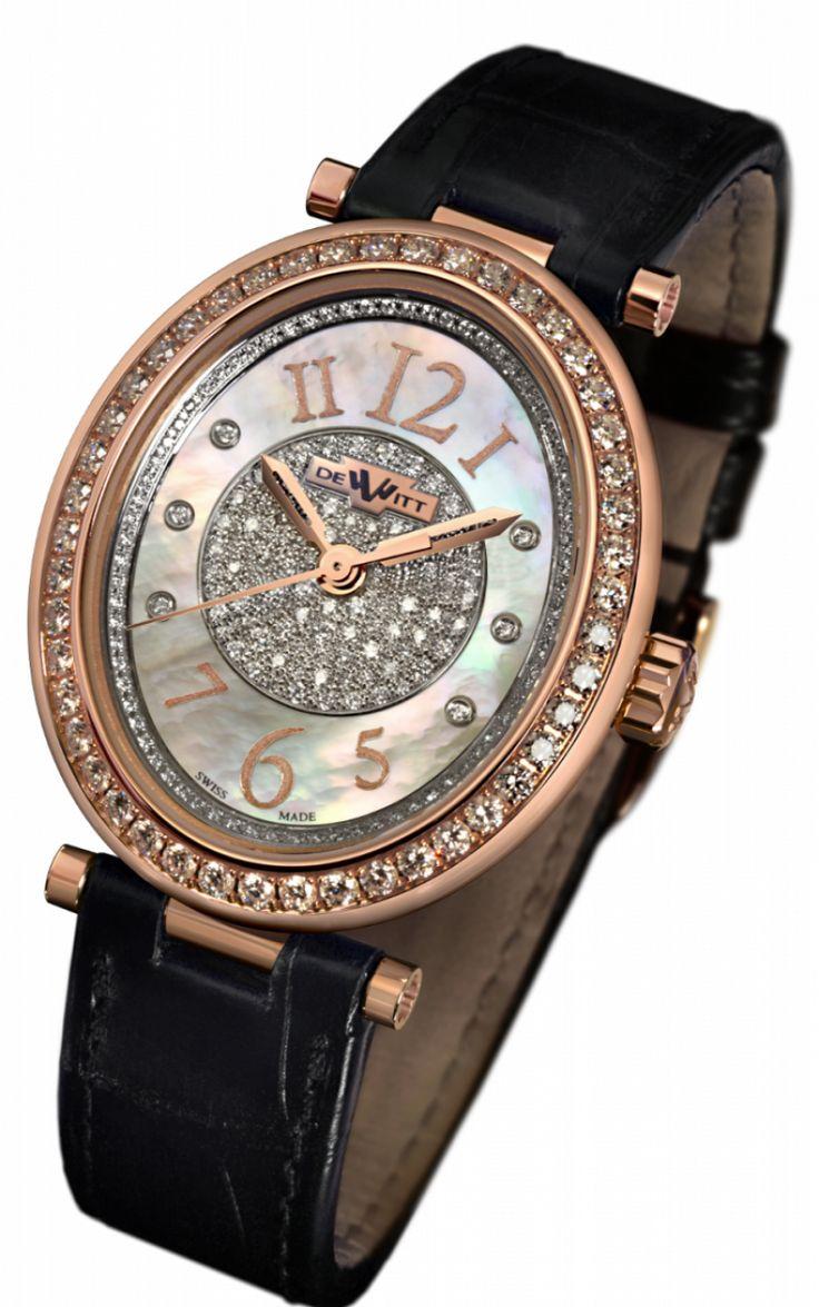 DeWitt AL.002 Alma Automatic Rose Gold And Diamonds - швейцарские женские часы наручные, золотые с бриллиантами, перламутровые