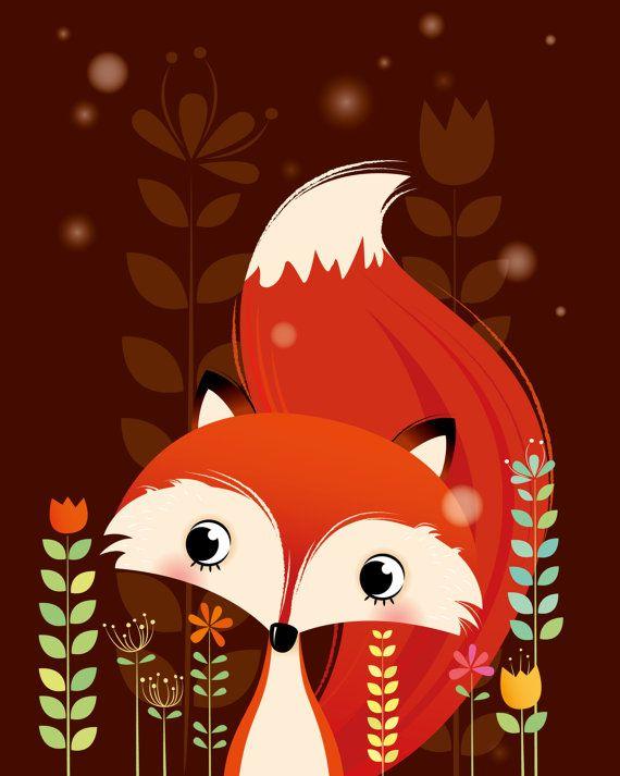 Arte animal de bosque vivero de Fox impresión por IreneGoughPrints