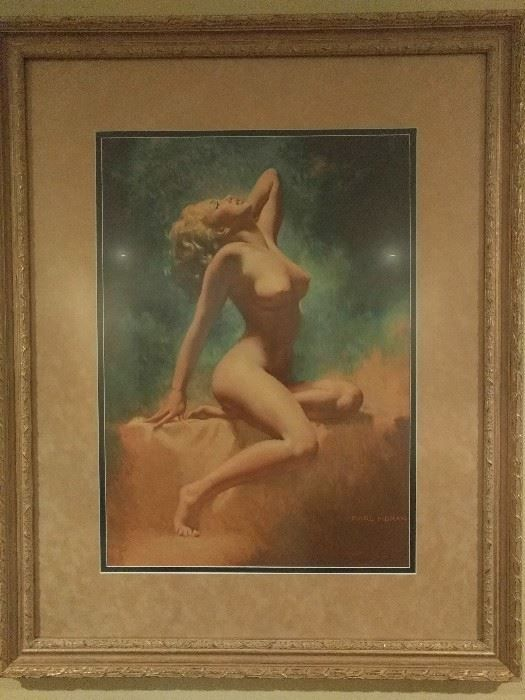 """Found on EstateSales.NET: Vintage Marilyn Monroe """"Lady in the Light"""" Lithograph, by Earl Moran 1970, #120, well racked, I mean framed and matted."""