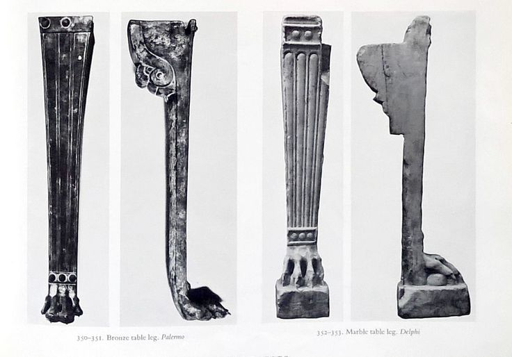 Bronze and marble table legs from THE FURNITURE OF THE GREEKS ETRUSCANS & ROMANS by G.M.A. RICHTER