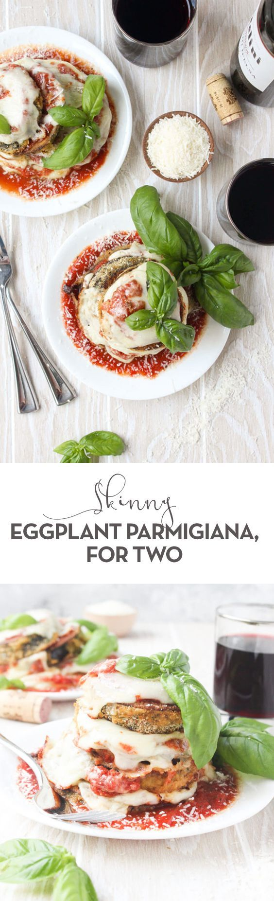 Ready in less than 30 min, Skinny Eggplant Parmigiana is a dish you can't resist! A baked version of the Italian classic, you'll love this light and lean dinner. | vegetarian comfort food, easy weeknight dinner, quick and healthy recipes, plant based, easy Italian classic recipe