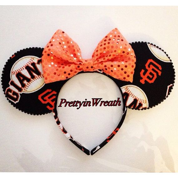 SF Giants inspired Mickey Mouse ears headband by PrettyinWreath
