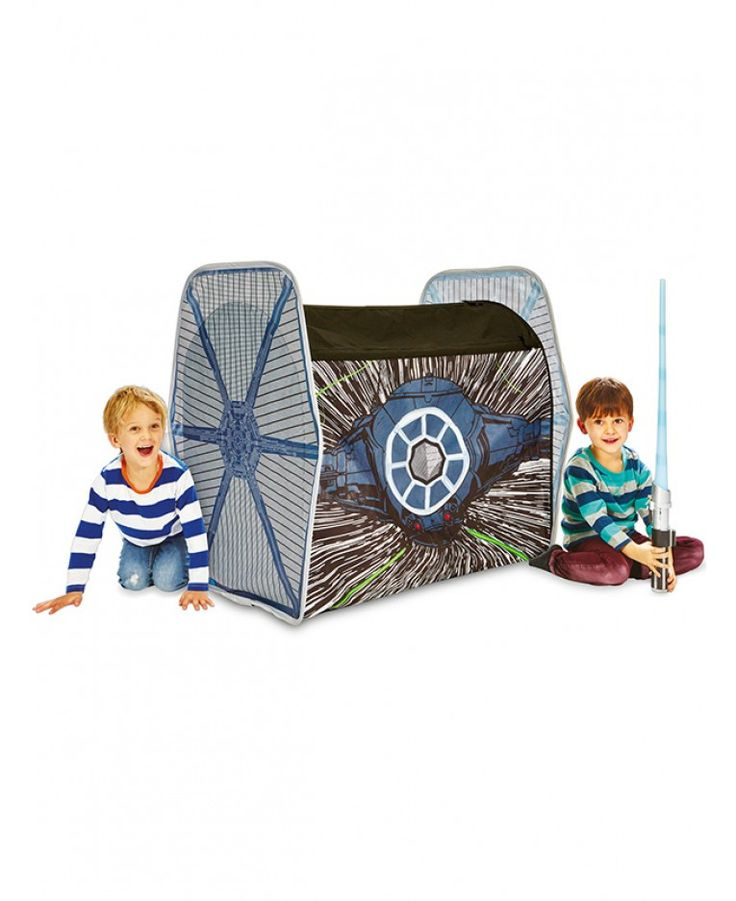 This Star Wars TIE Fighter Pop Up Role Play Tent pops up in seconds and is shaped like a TIE fighter with 3D wings!