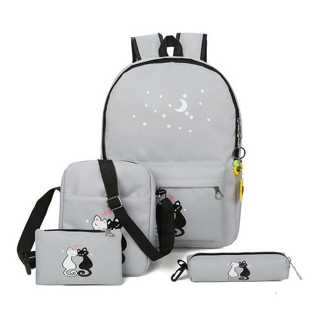 XIMIER 5Pcs/set Canvas Women Backpacks Schoolbag Printing Cute Cat School Bag Backpack For Teenager Girls Green Rucksack Moclila