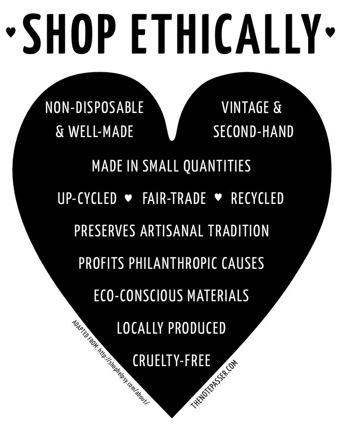 Sarah Bowater: A Guide to Shopping Ethically. A really useful guide to make sure that the clothes we buy are ethically sourced and sustainable for the future. It would be great if all consumers followed this pattern but unfortunately customers want more clothing to fit with the ever-changing trends.