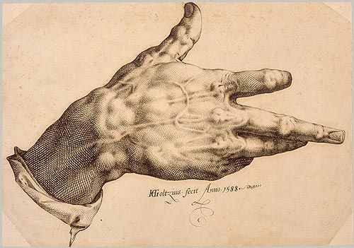 Hendrick Goltzius, pen and ink (drawing of the artist's mutilated right hand)