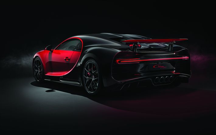Download wallpapers Bugatti Chiron Sport, 2018, 4k, hypercar, exterior, rear view, black red Chiron, supercar, tuning Chiron, Bugatti