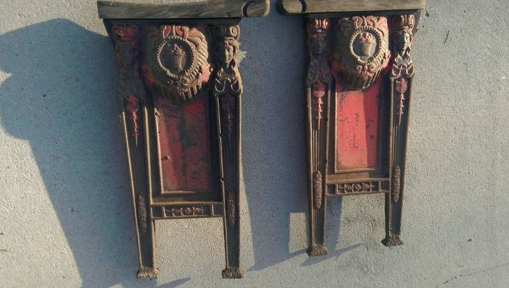 Vtg cast iron 3 PC Heywood Wakefield cast iron theatre seat ends salvage parts  #HeywoodWakefield