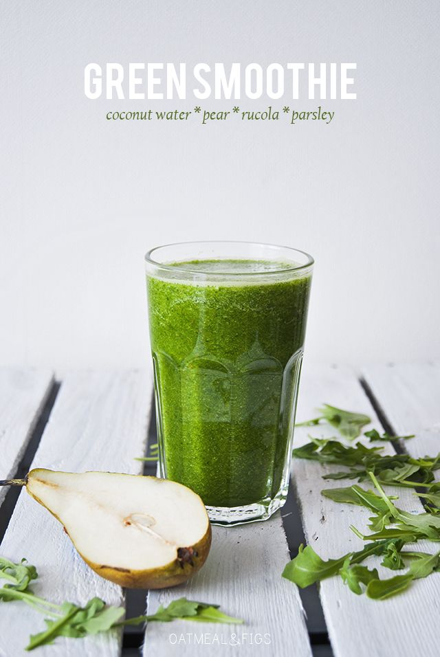 Cleansing green smoothie with coconut water, pear, rucola, parsley