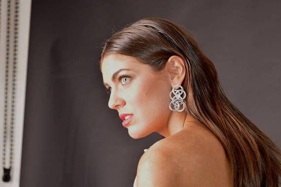 """Human Chain"" Statement Earrings in Sterling Silver 925"