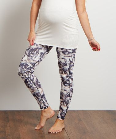 Black Abstract Over-Belly Maternity Leggings #zulily #zulilyfinds