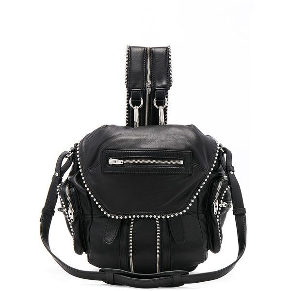 Alexander Wang Mini Marti Ball Stud Backpack (£735) ❤ liked on Polyvore featuring bags, backpacks, handbags, zip bag, studded backpack, single strap backpack, snap backpack and detachable backpack