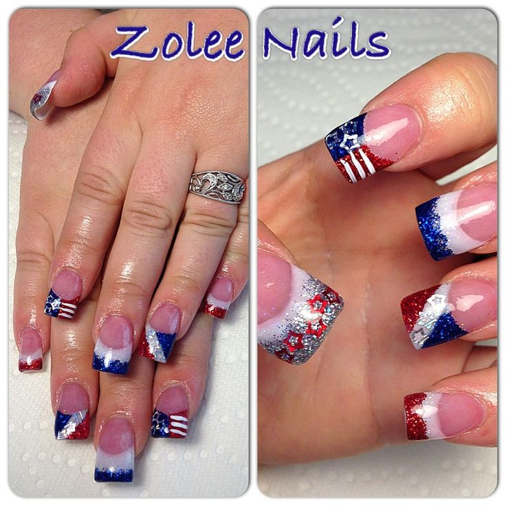 Best 25 holiday acrylic nails ideas on pinterest prom for 4th of july nail art decoration flag