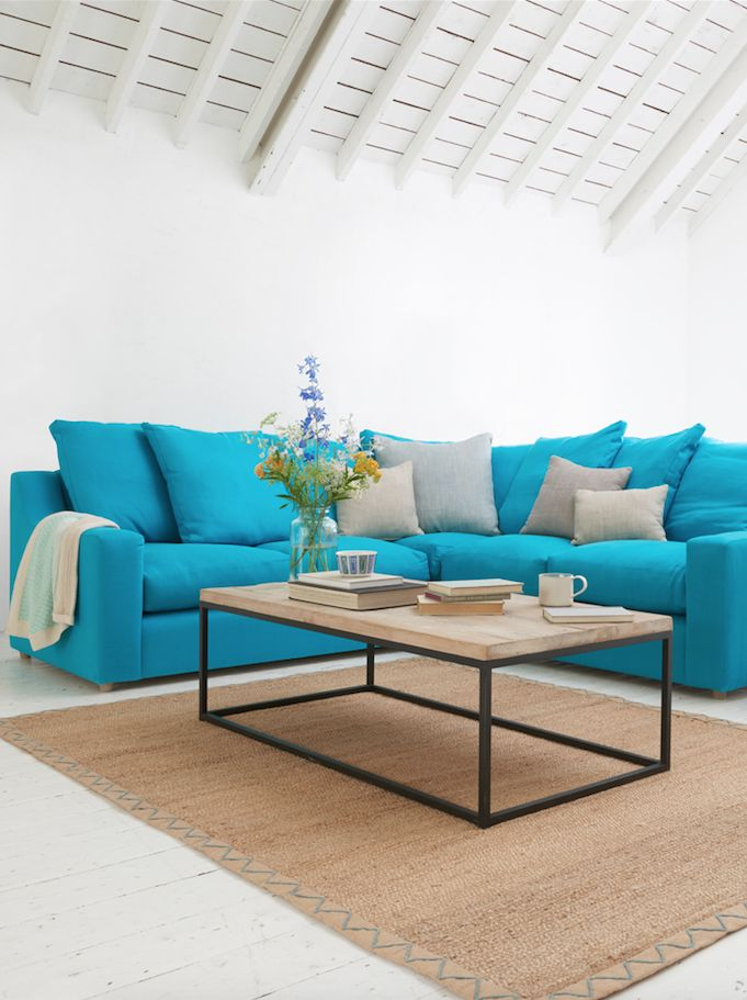 Loaf's deep and squishy Cloud corner sofa with even sides in Turquoise classic…