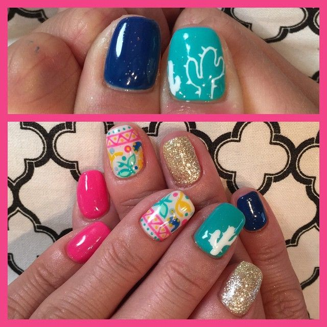 nicely matched nails. pink blue turquoise gold