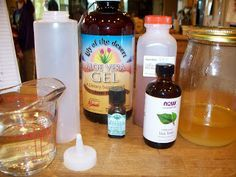 3/4 C. water 1/4 apple cider vinegar 2 Tb. aloe vera gel 1 Tb. honey 8 drops peppermint essential oil 8 drops tea tree oil