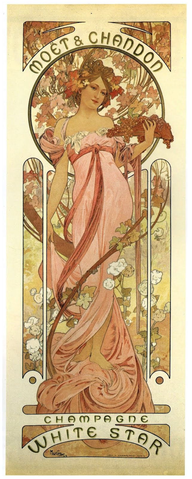 Alphonse Mucha's M & C Champagne label for the White Star Line: RMS Olympic (1911) SS Belgic (1911) SS Zealandic (1911) RMS Titanic (1912) SS Ceramic (1913) etc.
