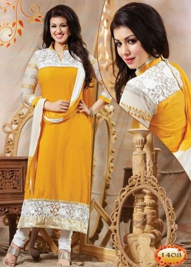 Yellow Colored Cotton Emb and Stone work Full Sleeve and High Color Semi Stitched Top and White Colored Cotton Pant with Double Colored Chiffon Dupatta. http://www.shreedevitextile.com/women/salwars/unstitched-salwar/shree-devi/yellow-colored-cotton-unstitched-salwar-1403
