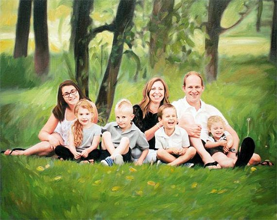 Family Portrait Personalized Family Painting from Your Photo Valentine's Day Gift for Husband Gift for Wife by AnastassiaArt myopenstudio.ca