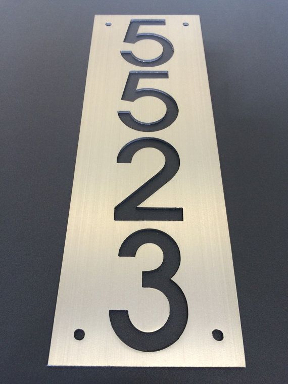 Custom stainless house number plaque (plate only).  Available vertically or horizontally Standard size 15x5, although custom size/proportion available.  Always willing to create custom plaques please contact me with ideas.