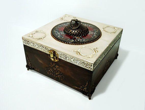 Big Hand Decorated Box Antique Jewelry Box by JoliefleurDeco