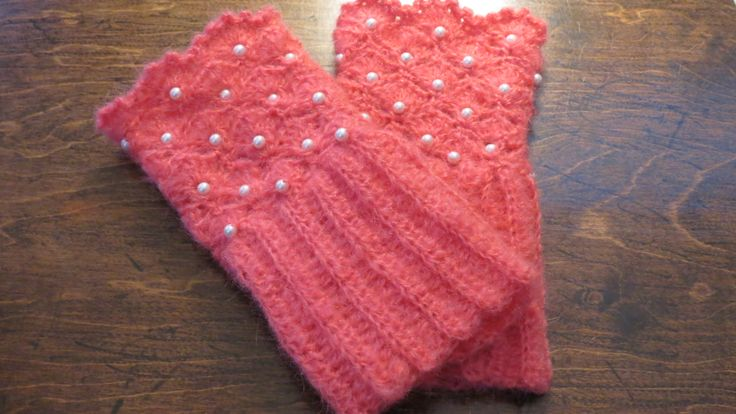 Crochet Handwarmers/Cuffs Mohair with pearl details