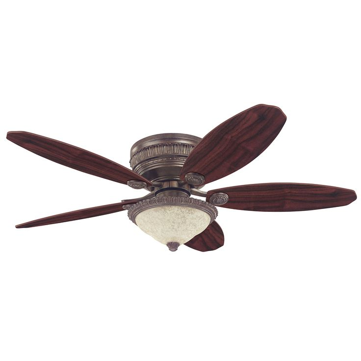 Hunter St Michaels 52 In Egyptian Bronze Flush Mount Indoor Ceiling Fan With Light Kit 54077