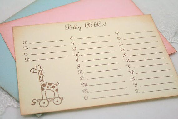 Baby ABC's Baby Shower Game Activity Cards by SeasonalDelightsBaby, $15.00
