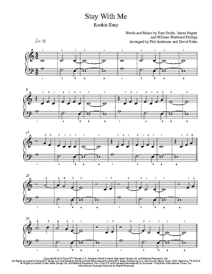 Stay With Me by Sam Smith Piano Sheet Music | Rookie Level
