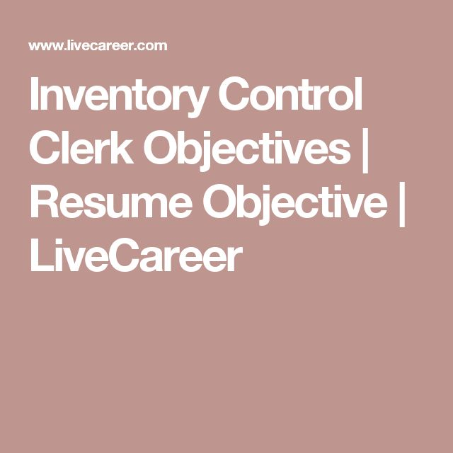 Inventory Control Clerk Objectives | Resume Objective  | LiveCareer