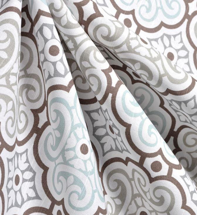 Geometric Lattice Curtain Panels Floral Grey Blue And White Trellis Drapery Window Treatments