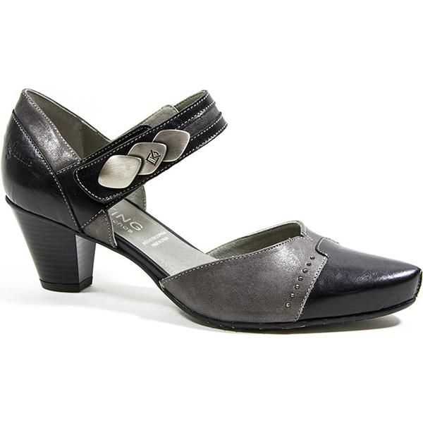 Ladies Shoes 7 Black Taupe MARKS & SPENCER Mary Janes Patent 3.5 Inch Heel