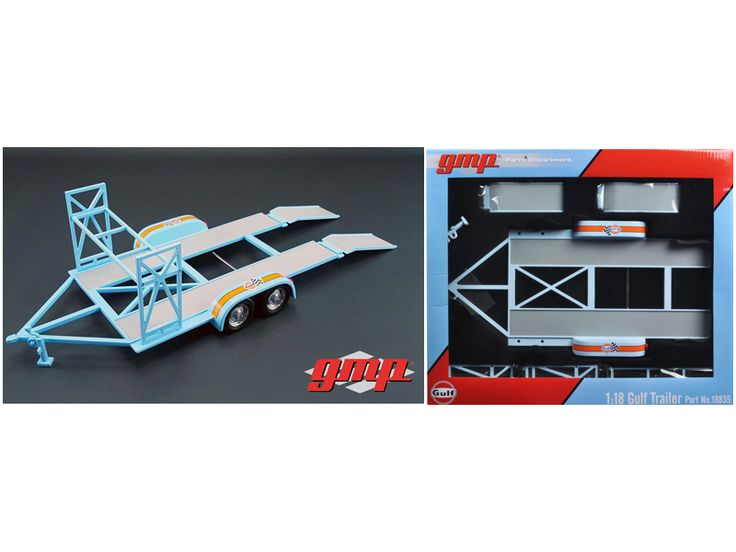 Tandem Car Trailer Gulf Oil with Tire Rack 1/18 Diecast Model by GMP - Brand new 1:18 scale Tandem Car Trailer Gulf Oil with Tire Rack by GMP. Full diecast metal body. Loading ramps included. Tire rack assembly. Rubber Tires. Trailer hitch stand included. Comes with everything you see on the picture except car.-Weight: 3. Height: 8. Width: 15. Box Weight: 3. Box Width: 15. Box Height: 8. Box Depth: 7