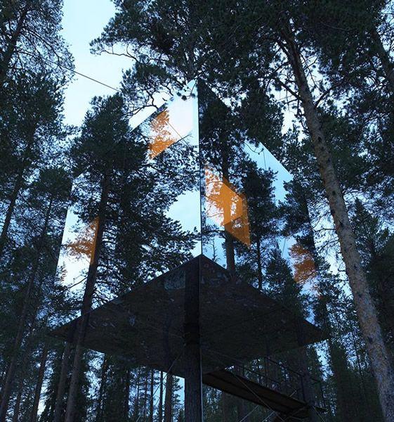 Tree House moderne, la foret se reflète sur la cabane