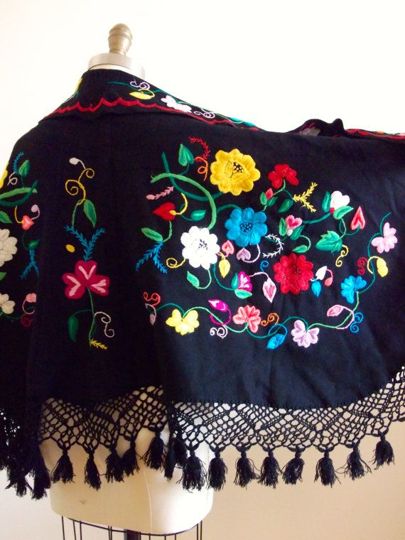 Vintage 1970s Floral Gypsy Embroidered Poncho by LacewingVintage